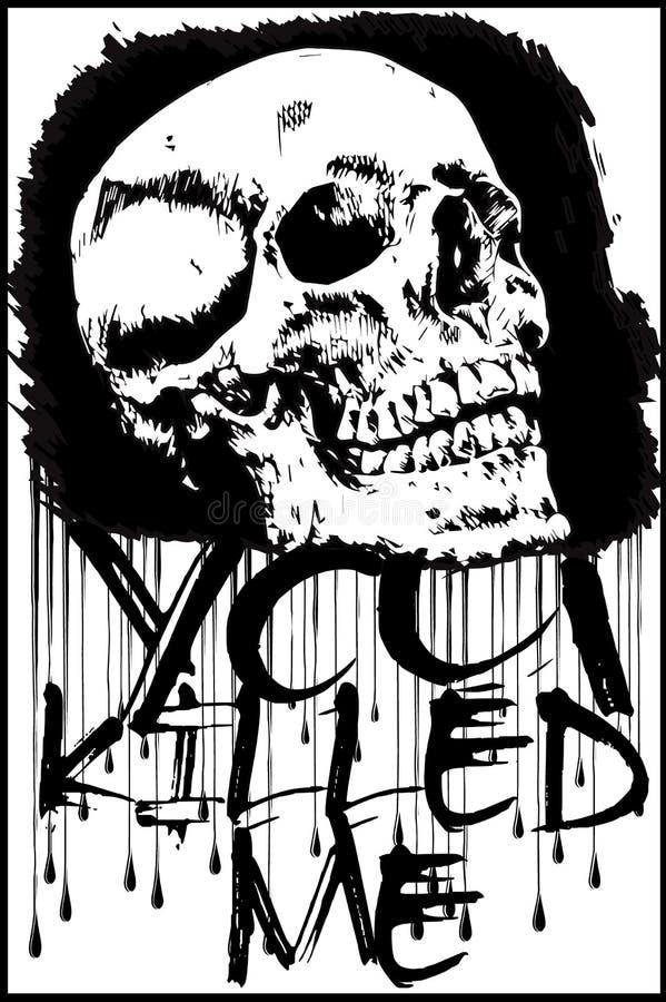 T恤杉图表/头骨印刷品/头骨例证/邪恶的头骨/conce 皇族释放例证