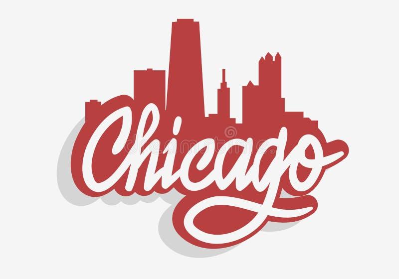 T恤杉或贴纸传染媒介图象的芝加哥伊利诺伊美国都市风景城市地平线都市标签标志商标 向量例证