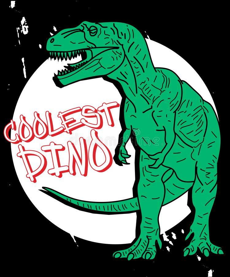 T恤杉打印的手拉的恐龙例证传染媒介 皇族释放例证