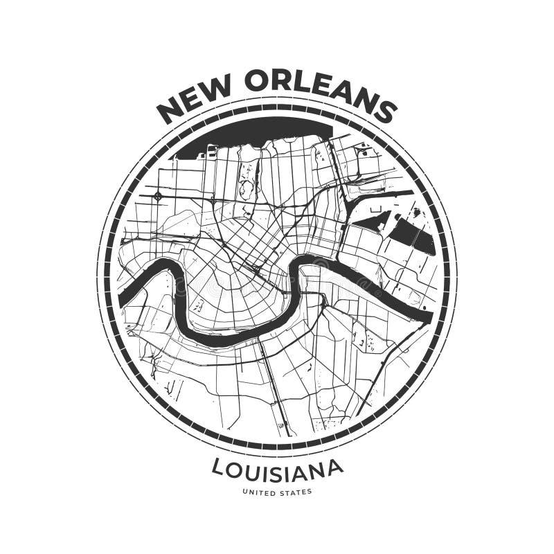 T恤杉新奥尔良,路易斯安那地图徽章  库存例证