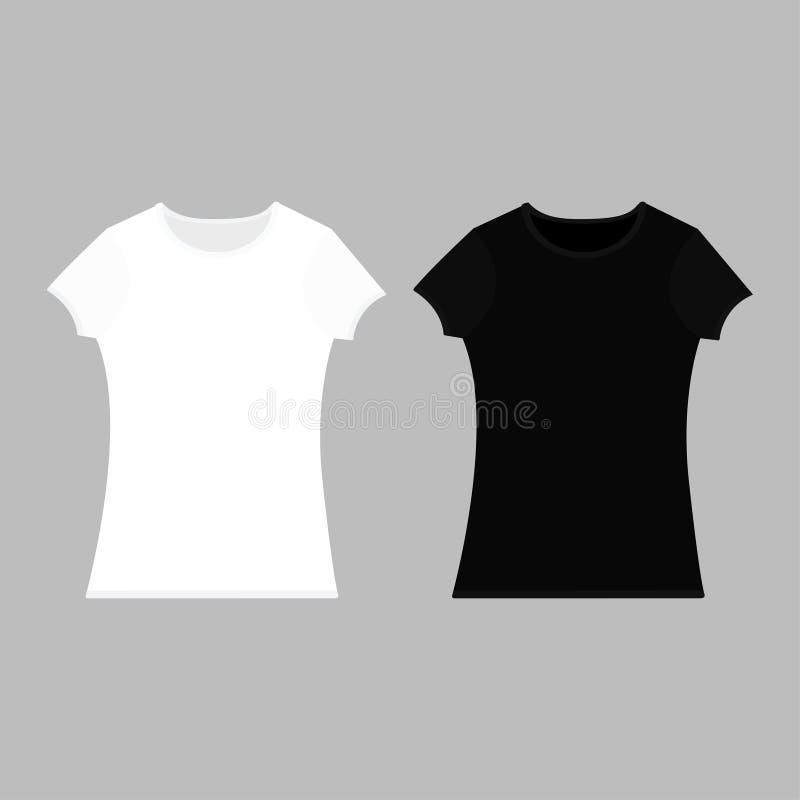 T恤杉模板集合 黑白色颜色 人妇女男女皆宜的模型 两件T恤杉大模型 前方 平的设计 灰色backg 库存例证