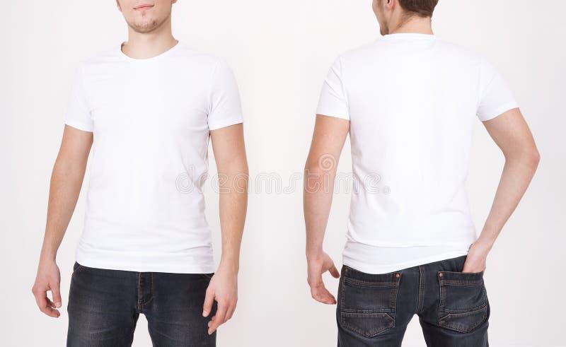 T恤杉模板 前面和后面看法 在白色背景隔绝的嘲笑 免版税库存图片