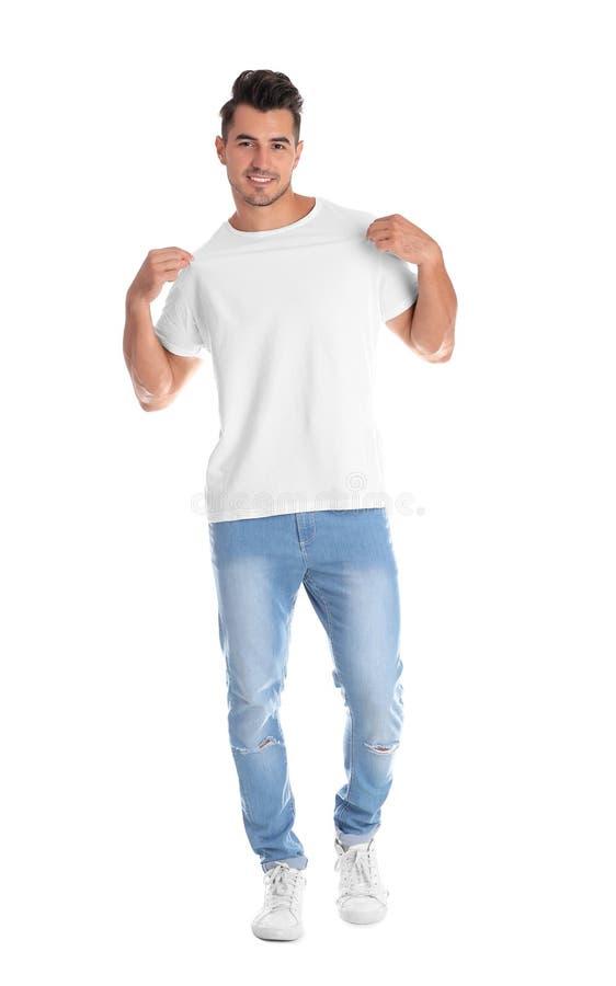 T恤杉的年轻人在白色背景 图库摄影