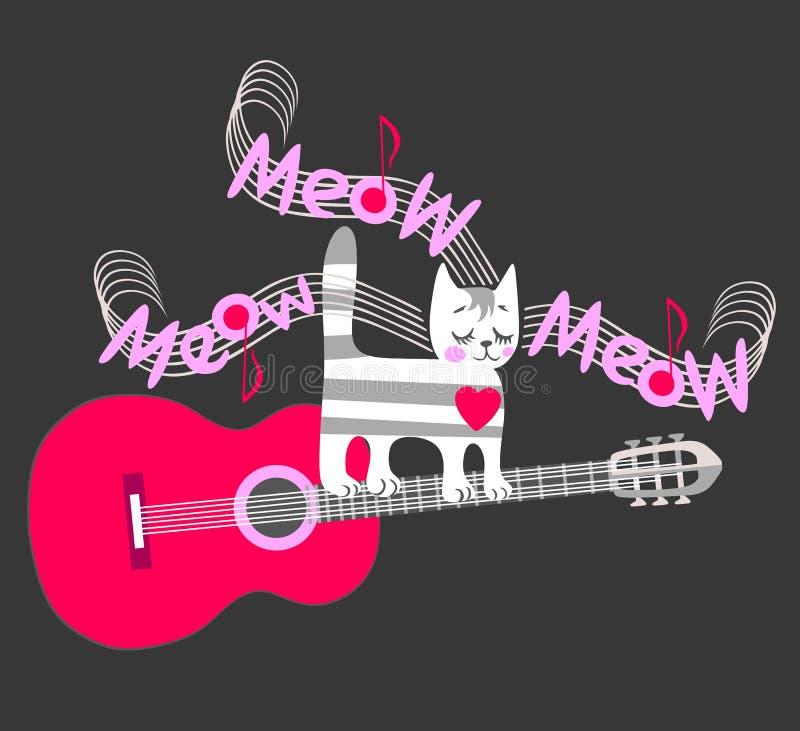 T恤杉的滑稽的音乐党的印刷品或请帖 一只逗人喜爱的平纹小猫爪子吉他的串和唱猫叫声 向量例证