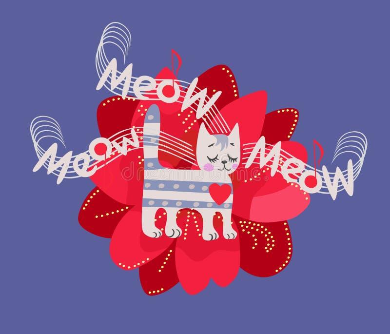 T恤杉的滑稽的音乐党的印刷品或请帖 一只逗人喜爱的镶边小猫在红色铁线莲属的背景站立 库存例证