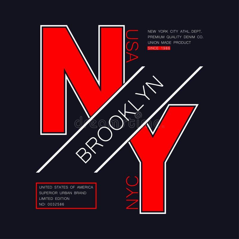 T恤杉的纽约,布鲁克林印刷术 NYC, T恤杉的美国现代图表 NY时髦服装印刷品,运动衣裳 向量例证