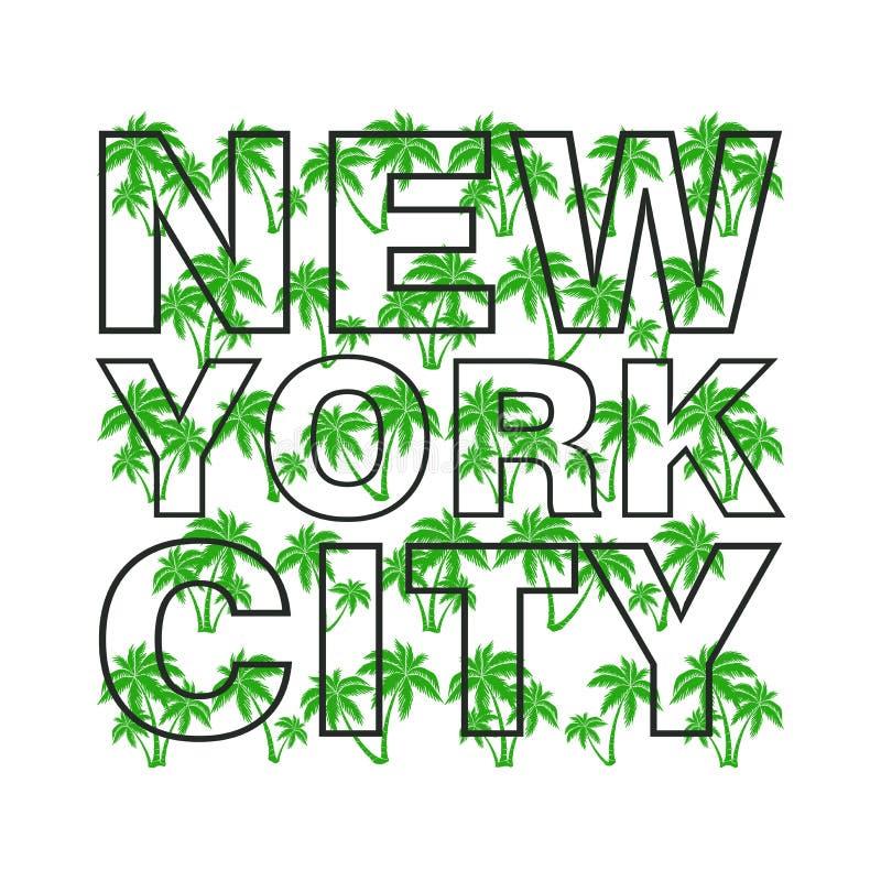 T恤杉纽约,体育穿戴,体育冲浪的印刷术象征 库存例证