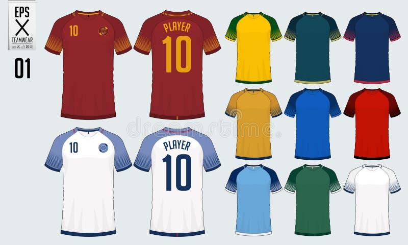 t恤杉足球球衣或橄榄球成套工具模板的体育设计 橄榄球t恤杉嘲笑 前面图片