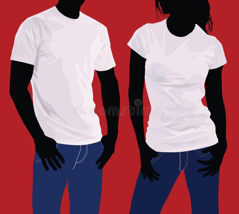 T恤杉 身体剪影男人和妇女 模板 向量例证