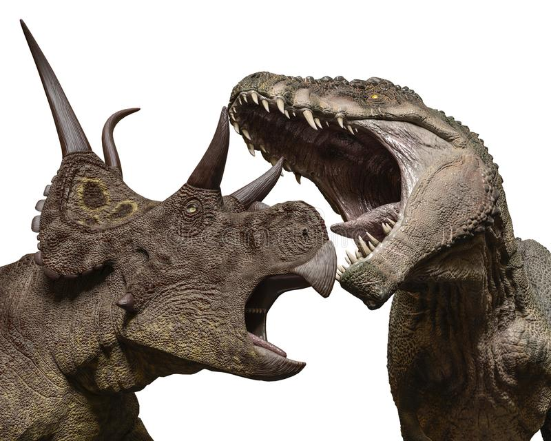T雷克斯对diabloceratops 库存例证