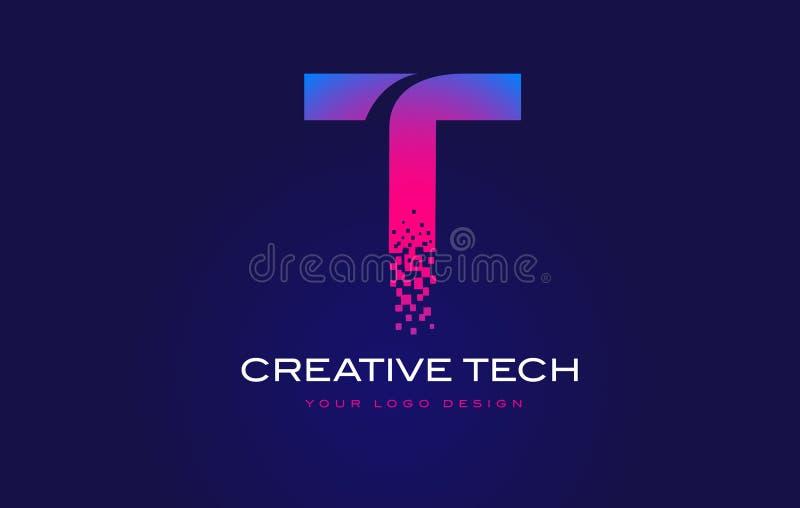 t首写字母与数字式映象点的商标设计在蓝色紫色图片