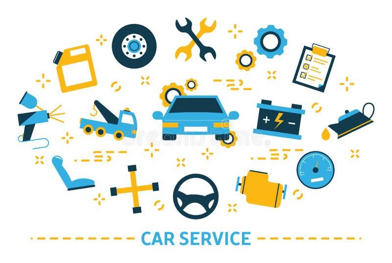 t Идея ремонта автомобилей и диагностики иллюстрация штока