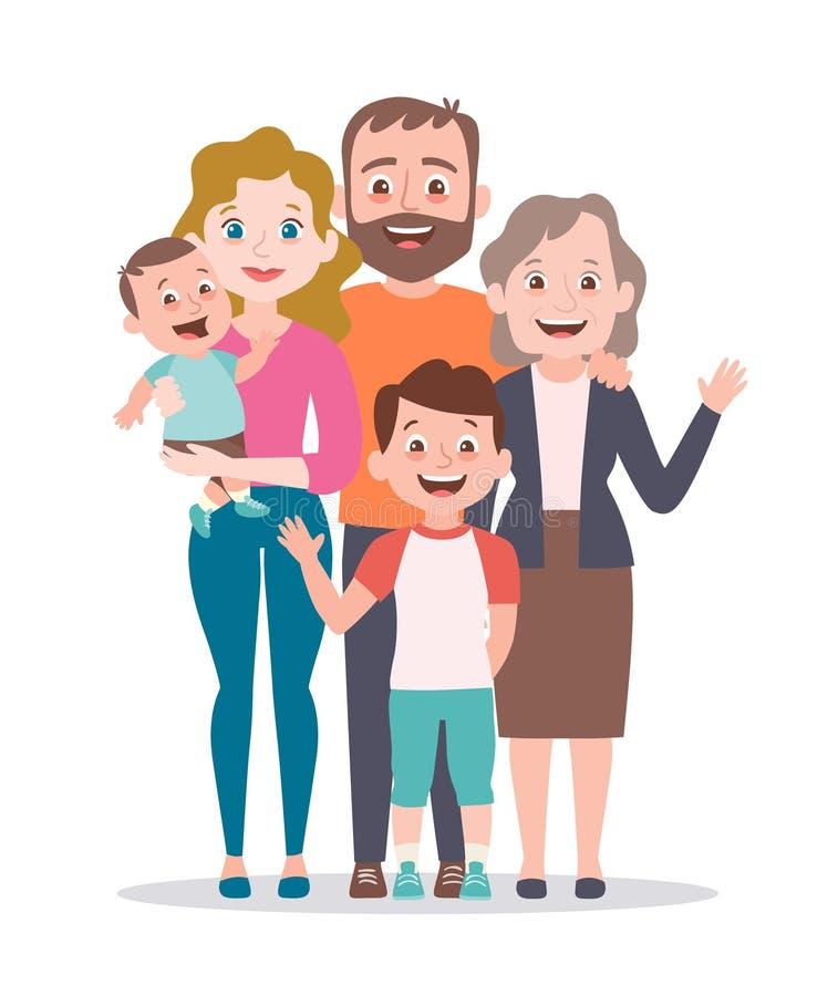 t 父母、祖母和两个孩子 向量例证