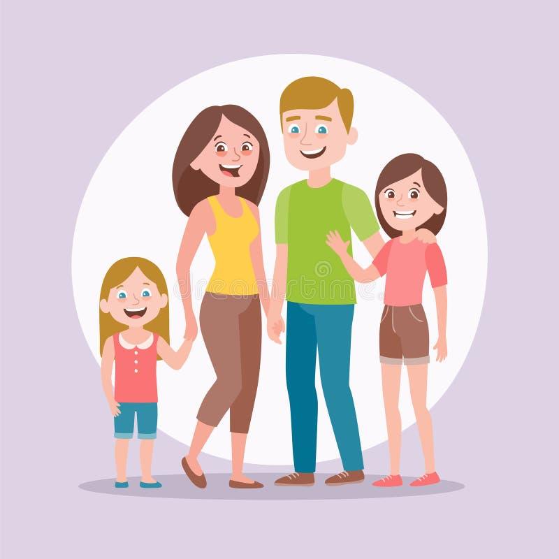 t 父母和两个女儿 向量例证