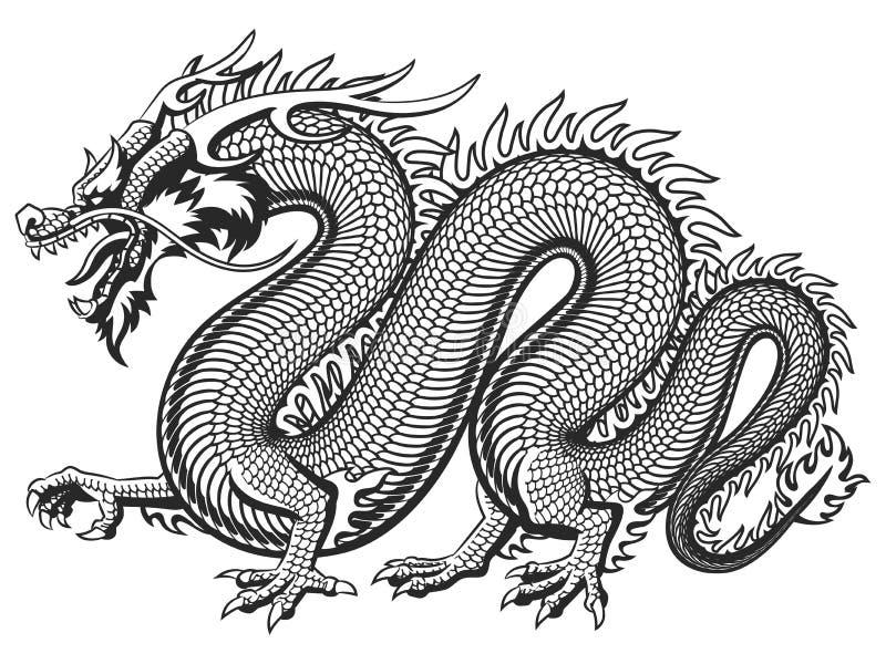 传统亚洲龙 向量例证