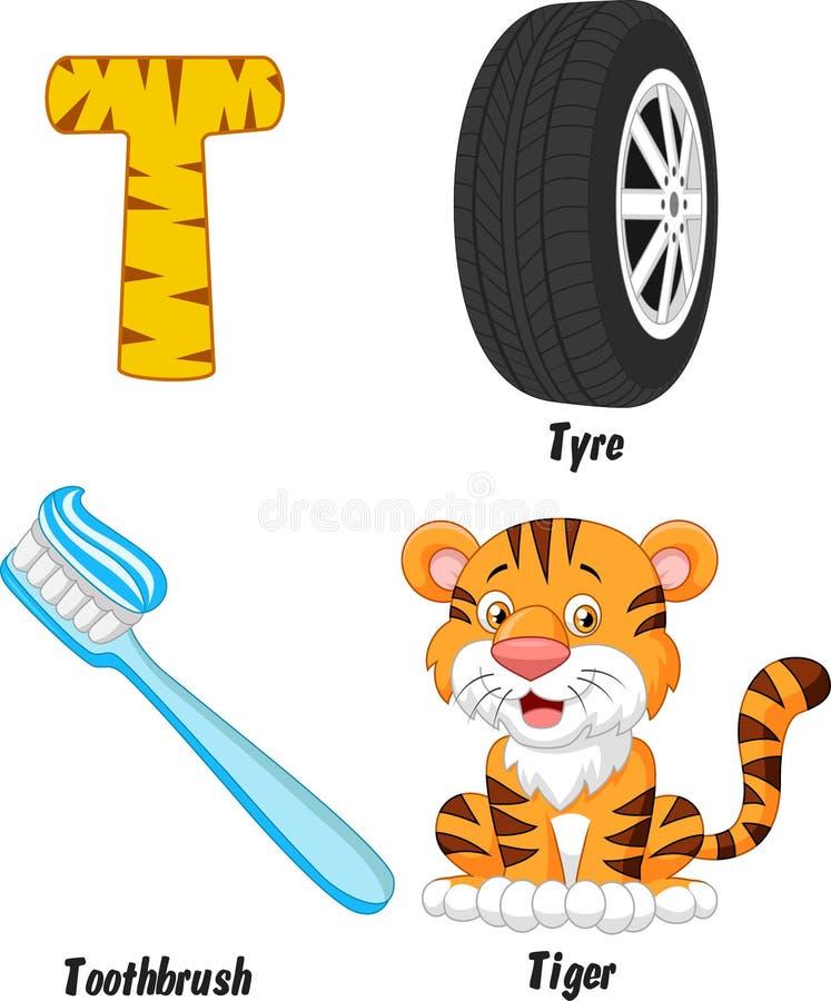 T alphabet cartoon vector illustration