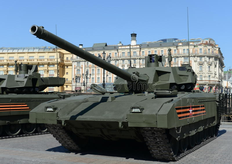 The T-14 Armata is a Russian advanced next generation main battle tank based on the Armata Universal Combat Platform. MOSCOW, RUSSIA - MAY 07, 2016:Rehearsal of stock photography