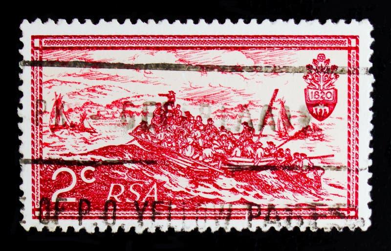 T Baines: De Britse Kolonisten die in Algoa-Baai, 10de Verjaardag landen van Republiek serie, circa 1971 royalty-vrije stock afbeeldingen