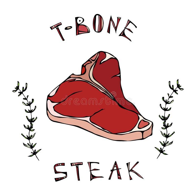 T-benet biffnötkött klippte med bokstäver i s-timjan Herb Frame Kötthandbok för slaktaren Shop eller logo för stekhusrestaurangme royaltyfri illustrationer