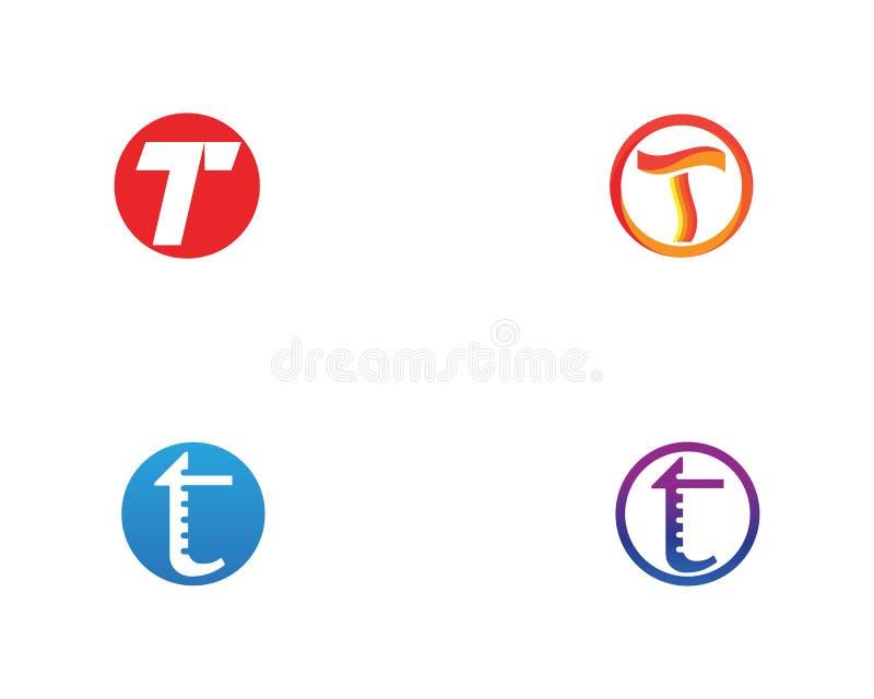 T beschriftet Logo- und Symbolschablonenikonen-APP vektor abbildung