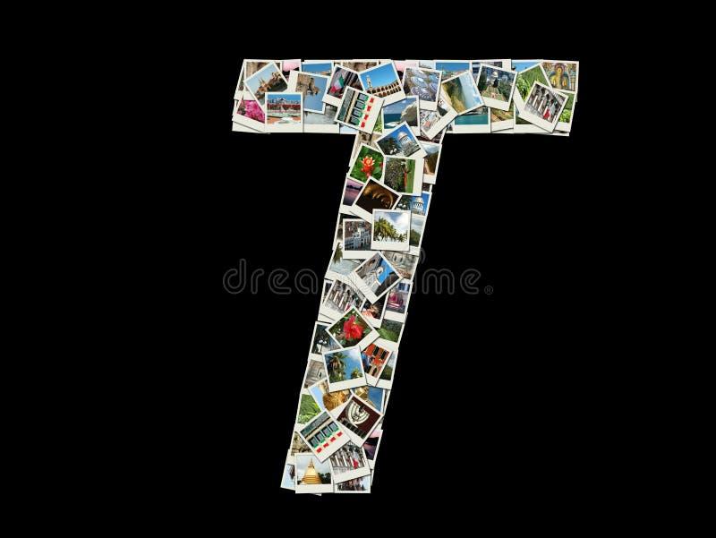T-bokstav - collage av loppfoto royaltyfri fotografi