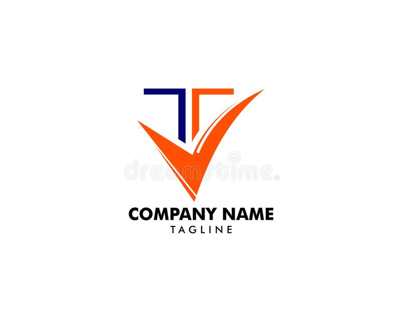 T-bokstavsTick Logo Icon Vector mall royaltyfri illustrationer
