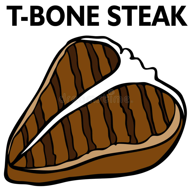 T-Bone Steak stock vector. Illustration of bone, black ...