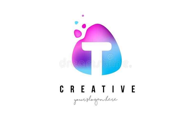 T Brief Dots Logo Design met Ovale Vorm royalty-vrije illustratie