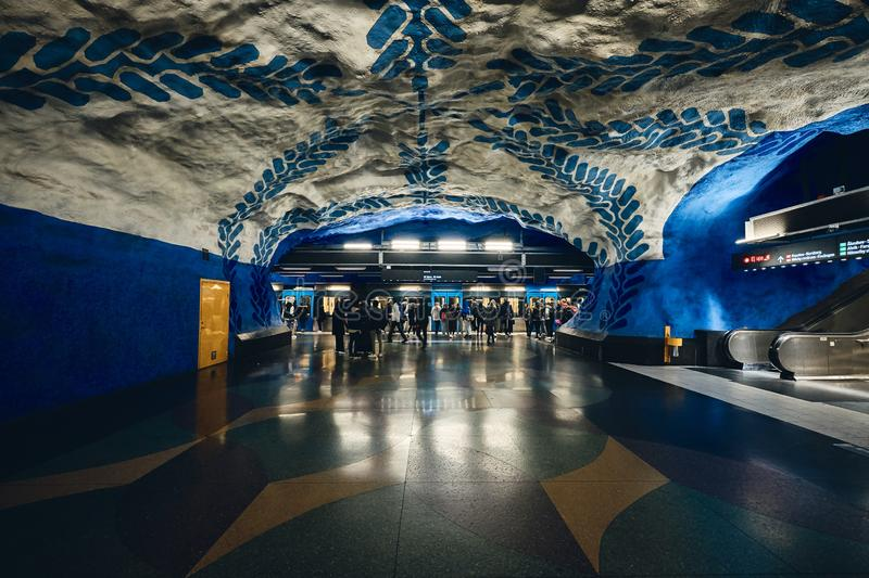 T-Centralen Subway Station in Stockholm, Sweden royalty free stock photography