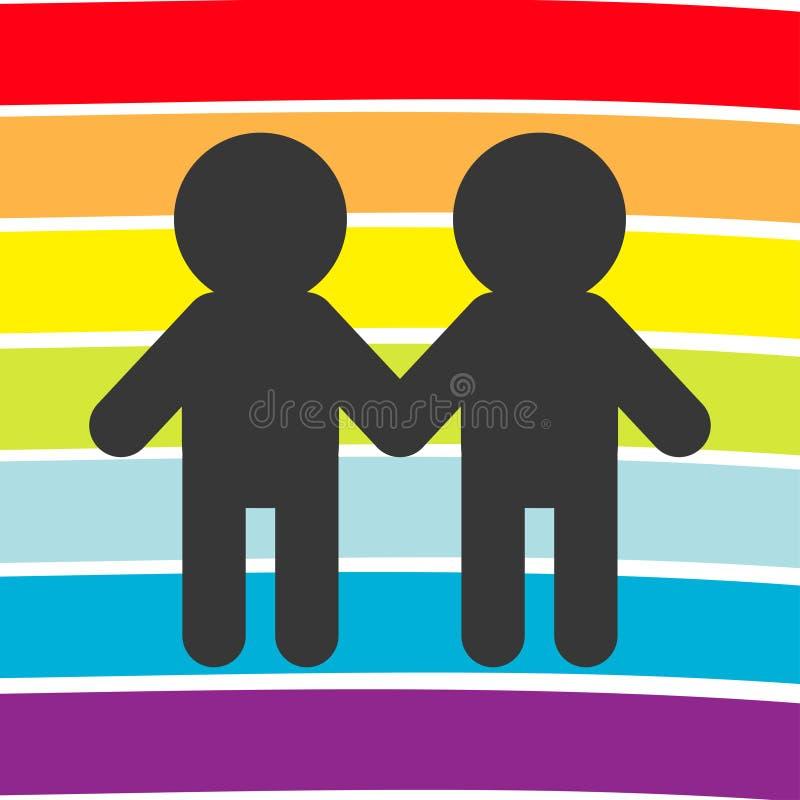T?czy chor?gwiany t?o LGBT homoseksualisty symbol Dwa chłopiec mężczyzny małżeństwa znak Kolorowy linia set P?aski projekt Bia?y  ilustracja wektor