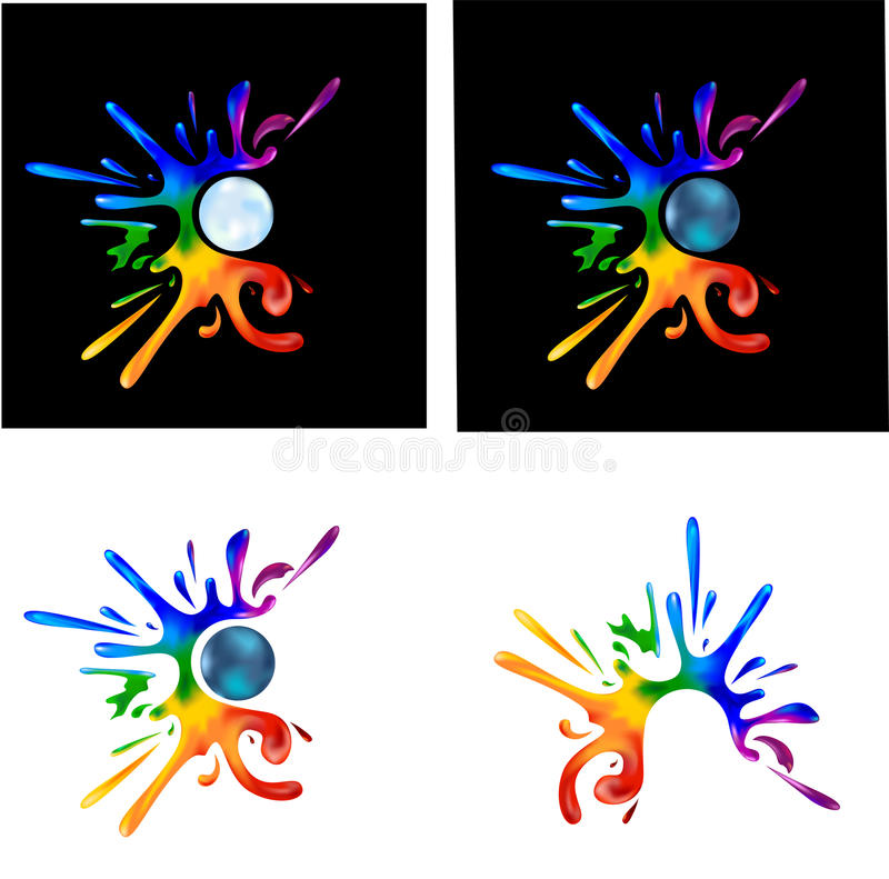 Download Tęczy farby splatters obraz stock. Obraz złożonej z kropla - 34255241