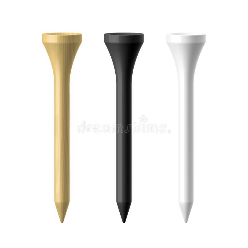 T de golfe de madeira, preto e branco ilustração do vetor