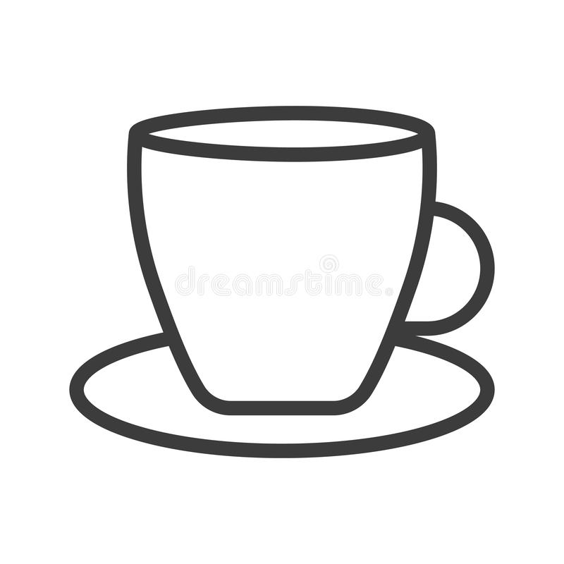 T? della tazza di caff? con la linea di vapore il nero dell'icona su bianco illustrazione vettoriale