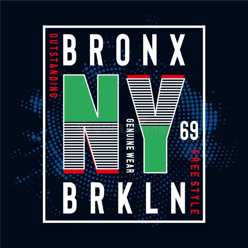 T di progettazione di tipografia di New York Brooklyn per la maglietta royalty illustrazione gratis