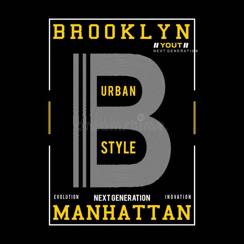 T do projeto da tipografia de Brooklyn para a camisa de t ilustração do vetor
