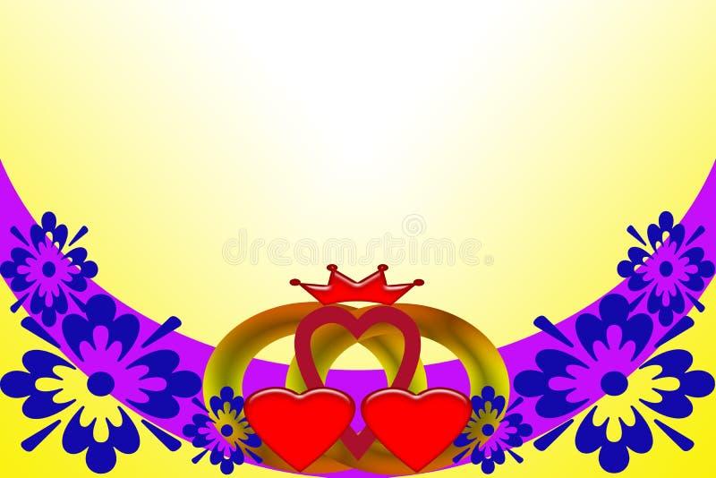 t?a eleganci serc zaproszenia romantycznego symbolu ciep?y ?lub Abstrakcjonistyczny wizerunek z stubarwnymi elementami ilustracja wektor