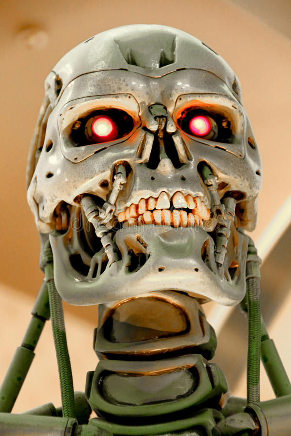 T-800 End skeleton. OSAKA, JAPAN - Jan 21, 2017 : Photo of the T-800 End skeleton from the Terminator 3D,one of the most famous attraction at Universal Studios royalty free stock photo
