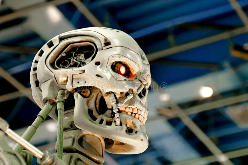 T-800 End skeleton. OSAKA, JAPAN - Jan 21, 2017 : Photo of the T-800 End skeleton from the Terminator 3D,one of the most famous attraction at Universal Studios royalty free stock images