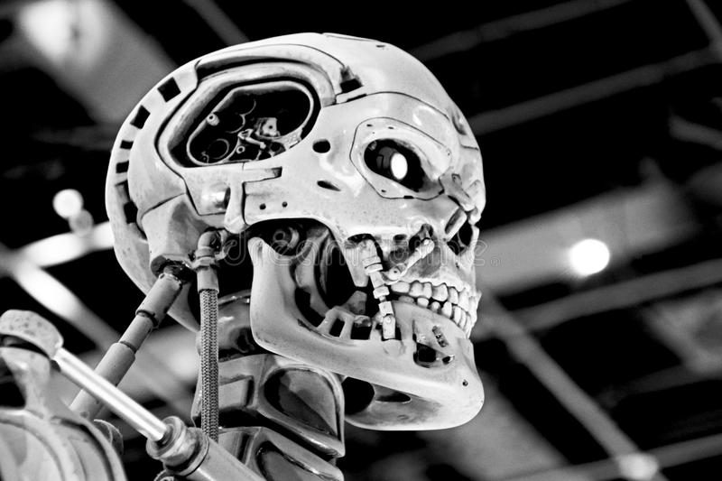 T-800 End skeleton. OSAKA, JAPAN - Jan 21, 2017 : Photo of the T-800 End skeleton from the Terminator 3D,one of the most famous attraction at Universal Studios stock photo
