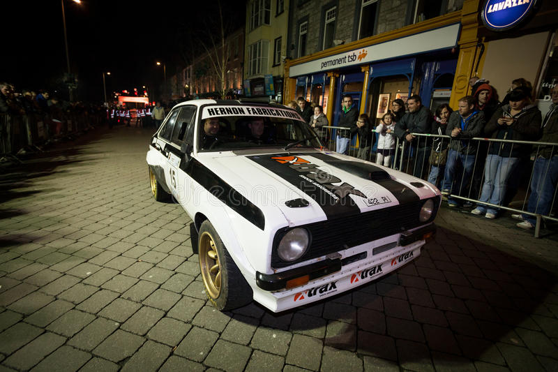 T.Flaherty with Ford Escort Mk2. GALWAY - FEBRUARY 4:T.Flaherty with Ford Escort Mk2 take part at Cremonial start of annual Galway International Rally on stock photo