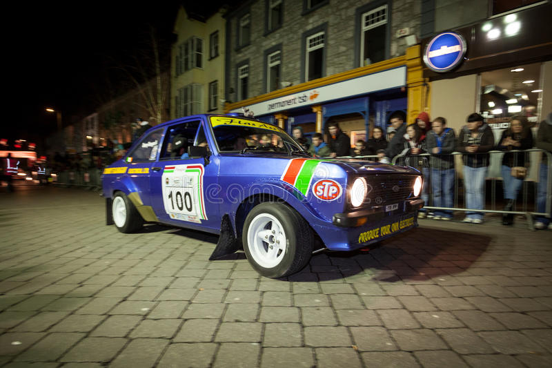 T. Flannagan with Ford Escort Mk2. GALWAY - FEBRUARY 4: T. Flannagan with Ford Escort Mk2 take part at Cremonial start of annual Galway International Rally on royalty free stock photos