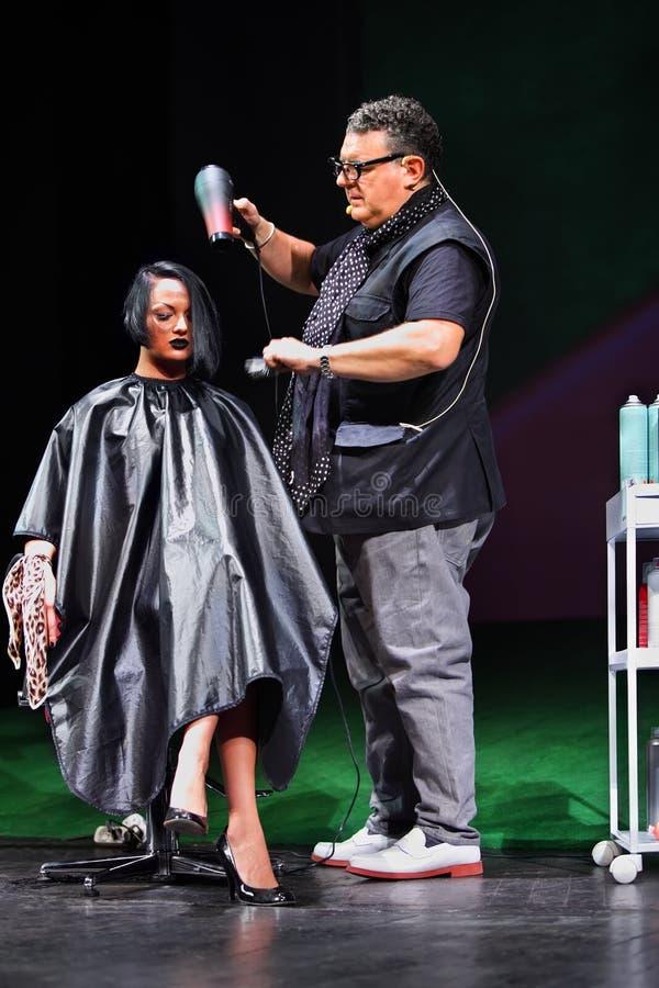 T.Hartley fa il lavoro di parrucchiere per il modello dei capelli neri fotografia stock libera da diritti
