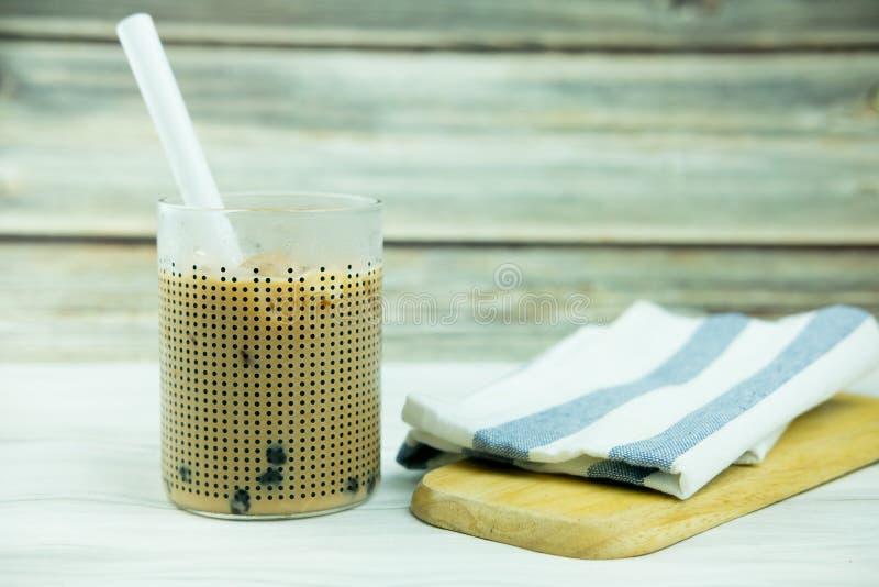 T? hecho en casa de la burbuja de la leche con las perlas de la tapioca foto de archivo libre de regalías