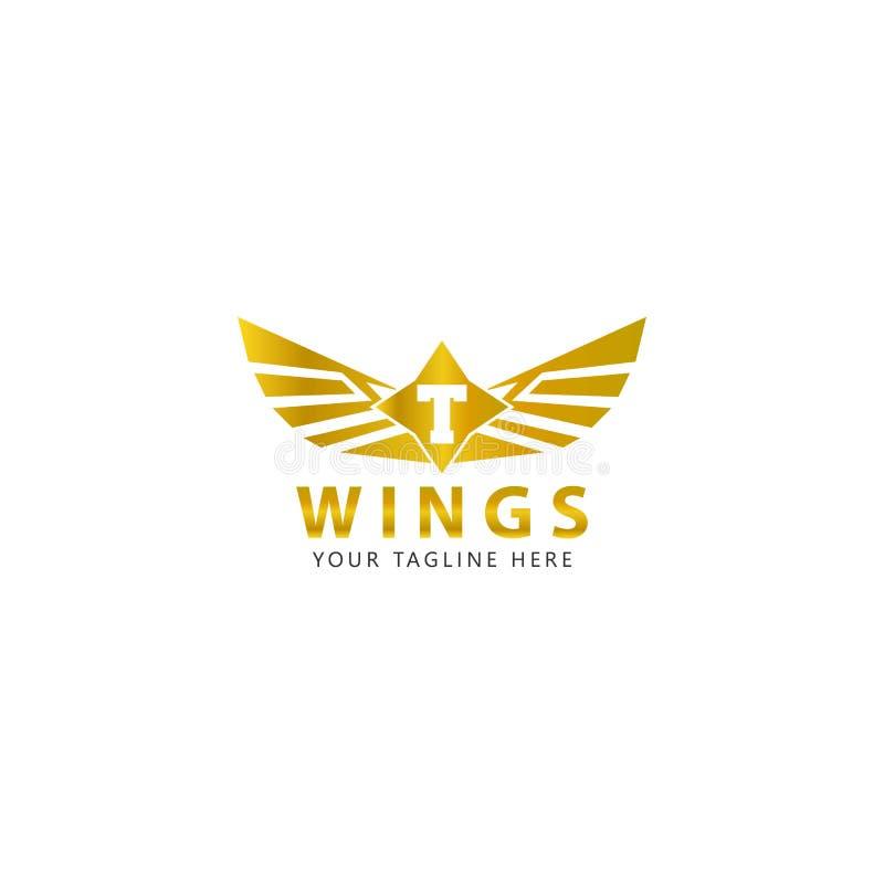 T initial avec le logo d'ailes d'or est une conception moderne illustration stock