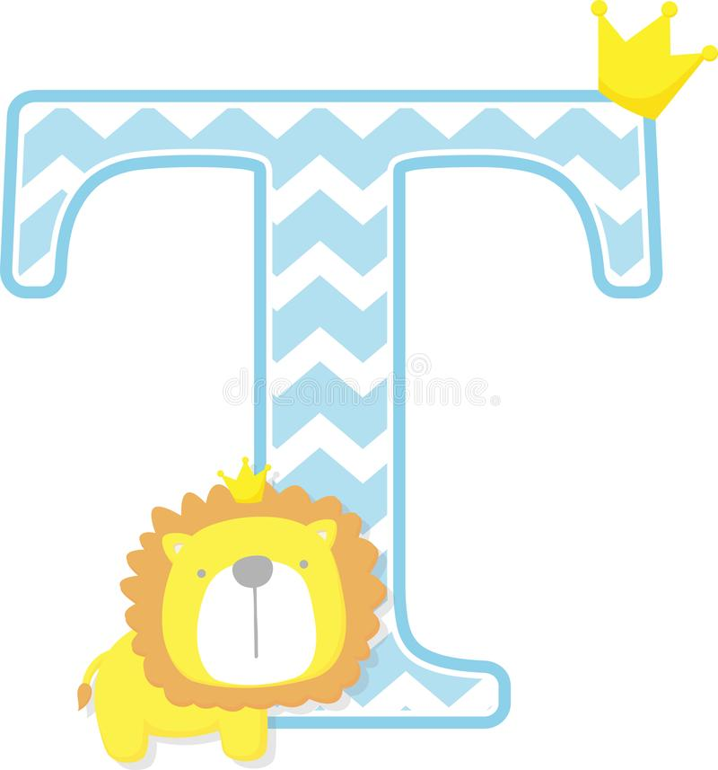T iniziale con il modello sveglio del gallone e di re leone royalty illustrazione gratis