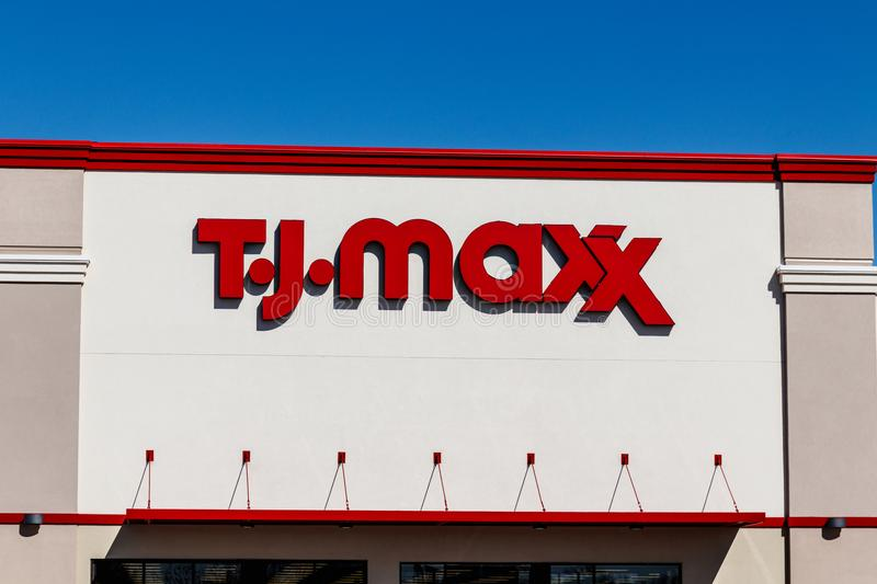 Indianapolis - Circa March 2018: T.J. Maxx Retail Store Location. T.J Maxx is a discount retail chain I. T.J. Maxx Retail Store Location. T.J Maxx is a discount royalty free stock photo