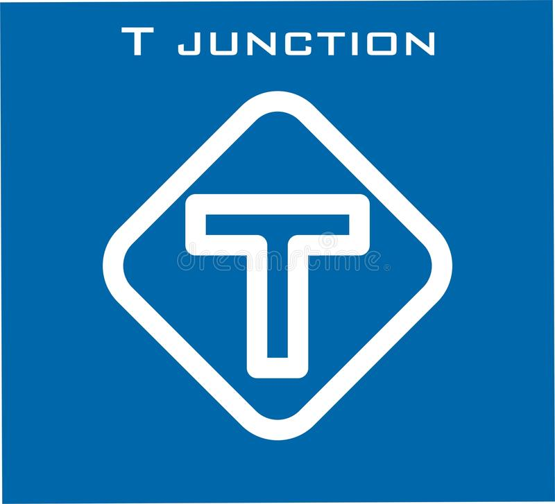 T junction vector icon white color stock images