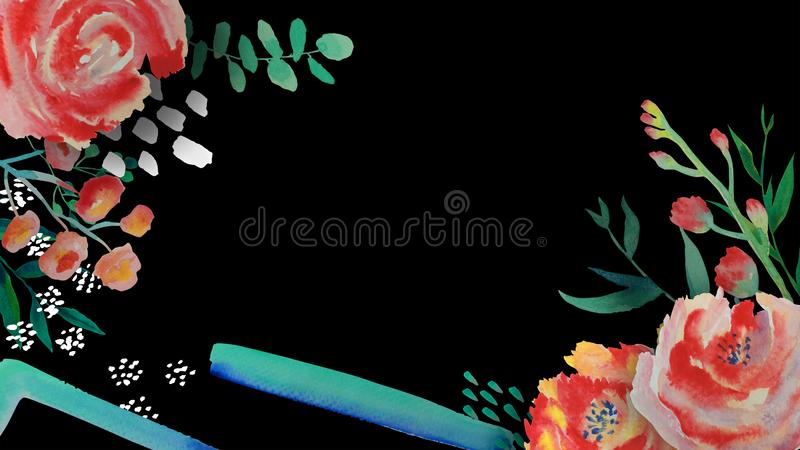 t?a karciany rysunk?w zaproszenia wektoru ?lubu biel Kwiecista i liście rama akwarela, Kreślący wianek, greenery barwi Watercolou royalty ilustracja