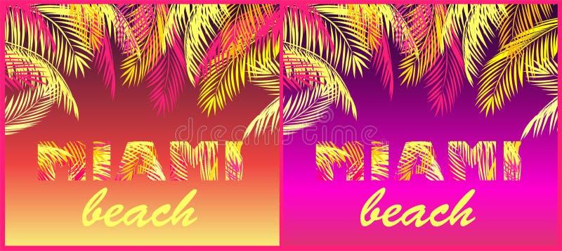 T koszula przyjęcia druków różnica z Miami plaży literowaniem z koloru żółtego i menchii palmowymi liśćmi na neonowym tle ilustracja wektor