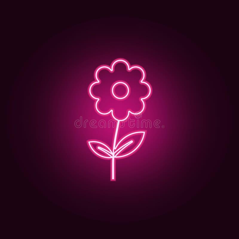 t?a kwiatu ikony ilustracyjny setu wektoru biel Elementy sie? w neonowych stylowych ikonach Prosta ikona dla stron internetowych, royalty ilustracja